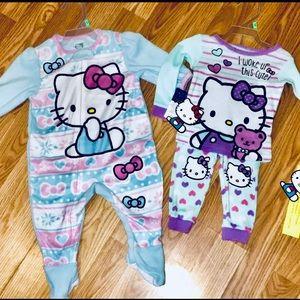 Disney Pajamas - Hello Kitty Two Full Set PJs In 9 Month Footies